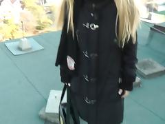 Blonde bitch gets nude in public and has anal sex