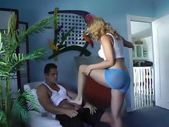 Blonde babe enjoys teasing guy's cock while exploring foot fetish