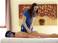 Massage, Ass, Ass Licking, Brunette, Lesbian, Lick