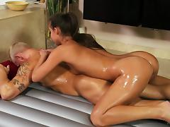 Charming brunette babe giving a oily massage before getting her pussy pounded hardcore