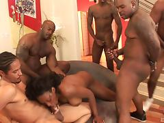 Hot group banging with naughty porn hottie Nyomi Banxxx in nasty fuck action porn tube video