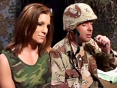 Horny soldier gets lucky with hot Debbie