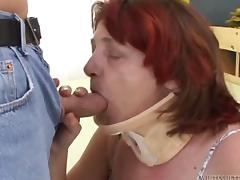 Mature granny in sexy stockings gets a creampie facial after getting gang banged hardcore tube porn video