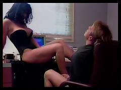 Big breasted brunette and stud foot fetish