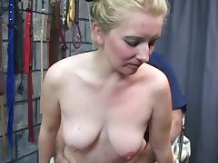Blonde woman gets her pussy smeared with shit and fucks doggy style