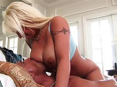 Busty blonde with fake tits gets her pussy slammed hardcore after giving a blowjob
