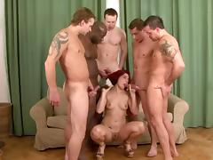 Five guys fuck Lucy Bell at once during an interracial gangbang tube porn video