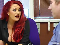 Redhead Dame With Big Tits Yells While Being Smashed