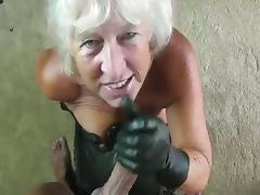 GILF leather gloves blowjob tube porn video