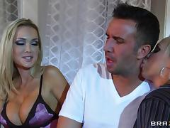 Blonde With Fake Tits Giving Her Guy Blowjob In POV Shoot