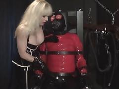 Rubber Bondage Slave plugged gagged and vibrated by Madame C tube porn video
