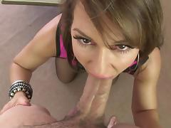 Hot beauty in fishnet stockings Facialised after great blowjob on POV