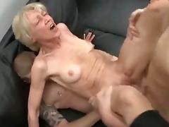 Horny granny and two males