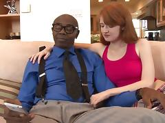 Black stud Sean Michaels makes redheaded Abby Rains cum on his cock
