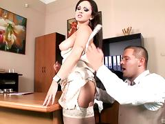 This guy fucks his super hot cougar of a boss right on her desk