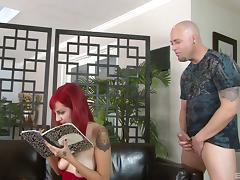Tattooed redhead with pierced tits enjoying a hardcore anal fuck