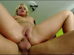 Tattooed blonde with petite natural tits enjoying a hardcore anal fuck tube porn video