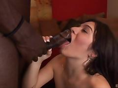 Sexy brunette licking and sucking a stranger's big black cock