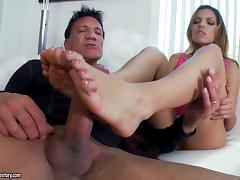 Dynamic babe with a foot fetish getting drilled doggystyle