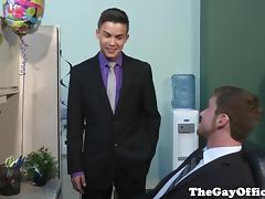 Gay office twink works on his sucking skills tube porn video