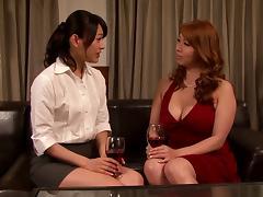 Doting Japanese lesbians in miniskirts fucking hardcore