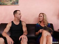 Vivacious cougar with long blonde hair enjoying a hardcore missionary style fuck