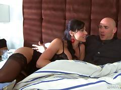 Lingerie-clad brunette with big tits getting her pussy licked