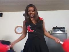Cute ebony cheeerleader gets drilled