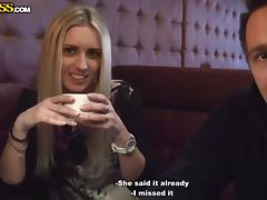 slutty bitch met in the street undresses for money