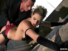 Sexy black gloves and stockings are hot on the blonde he bangs