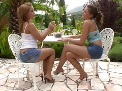 Lesbians share tender French kisses and lick cunt outdoors tube porn video