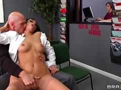Delectable brunette pornstar with glasses moans while getting her shaved pussy drilled hardcore