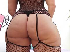 Big ass chick chick in fishnet lingerie fucked in the butt by a big cock