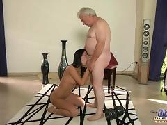 Silly grandpa fucking dirty brunette