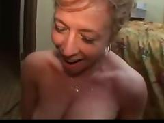 Submissive blonde mature fucked and analized by two cocks