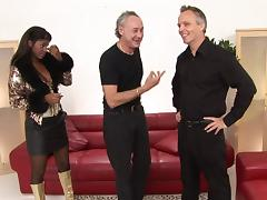 Older guys fuck a pair of glamorous chicks in an interracial foursome