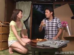 Japanese milf makes sure his dick is happy in a naughty sex scene tube porn video