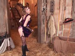 Cowboys fuck a sexy girl in lingerie and cum all over her