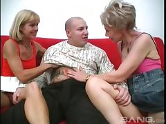 Old babes are desperate for dick and take on his cock together
