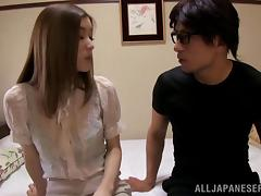 A Japanese girl gets fucked hard and lets him cum in her pussy