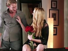 A tall, sexy blonde has an erotic encounter with a guy she just met
