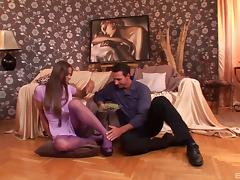 Bodacious babe Cathy Heaven makes his pantyhose fantasies come true tube porn video