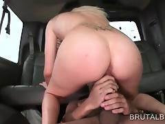 Blonde slut gets double fucked in bus 3some