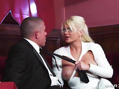 Sexy knee high white latex boots on fucked bimbo Alexis Ford porn tube video