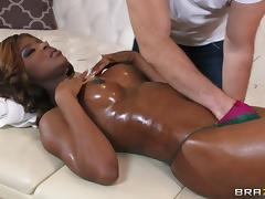 Massage, Big Tits, Couple, Ebony, Fingering, Hardcore