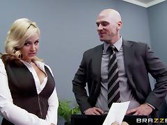 Johnny Sins fucking the shit out of his busty boss in her office porn tube video