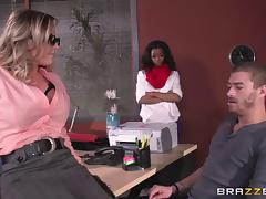 Hot boss lady having another job interview with her pussy