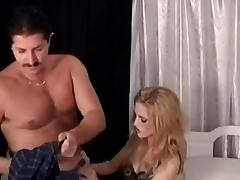 Charming bimbo getting banged doggystyle before licking balls in mmf sex
