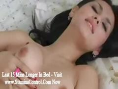 Pretty Japanese woman pleasures her lover's horny meat staff