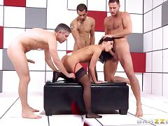 Adriana Chechik gangbang with three dicks pounding her tube porn video